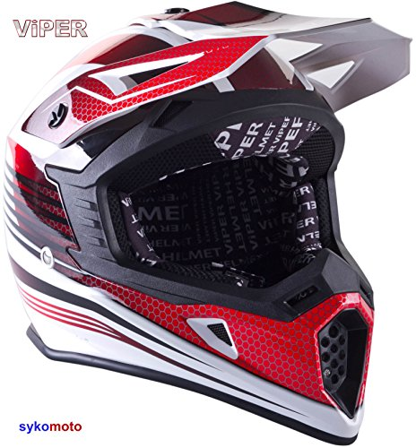 VIPER RS X95 MOTOCROSS MOTO QUAD ATV DIRT ENDURO OFF ROAD SPORT RENNEN MOTORRADHELM ROT (S (55-56 CM))