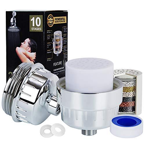 Hakkin 10-Schichten Duschfilter Wasser Filter mit auswechselbare Filter Kartusche, Silikondichtungen und Teflonband, Reinigen Chlor, Entfernen Sedimenten, Verunreinigungen und Metalle