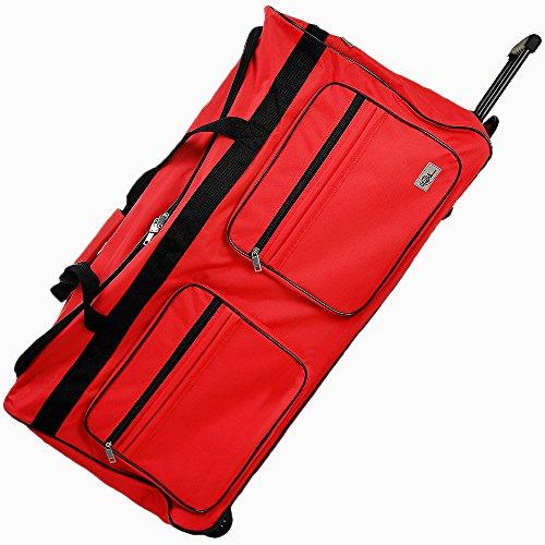 Grand sac de voyage Rouge - Avec 3 roulettes - Bagage XXL - Sac de sport - 85x43x44 cm