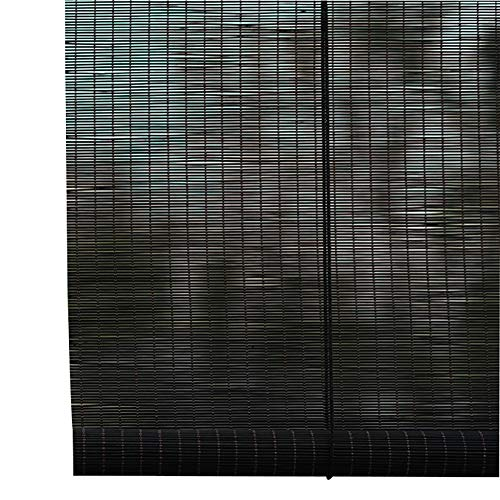 Seitenzug- & Springrollos Bambusvorhang Roll-Up-Jalousien - Leicht Filternde Bambus-Rollos (Naturgewebe), Schwarze Vorhänge, Multi-Size-Option (größe : 120x160cm)