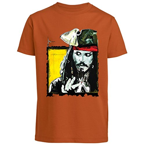 Pushertees - T-Shirt Junge orange LTB-39 berühmter Schauspieler hollywood Kapitän mit Pistole Piraten