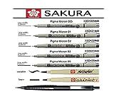PIGMA MICRON Pochette de 7 feutres noirs,005,01,02,03,05,1mm, Brush et crayon mécanique, Manga-SET,Made in Japan