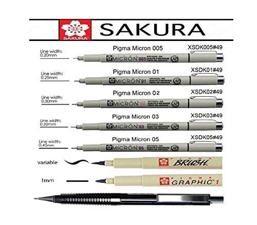 Pigma Micron set - Rotulador de punta fina negro,005,01,02,03,05,1mm, Brush y lápiz mecánico, Manga-SET, hecho en Japón