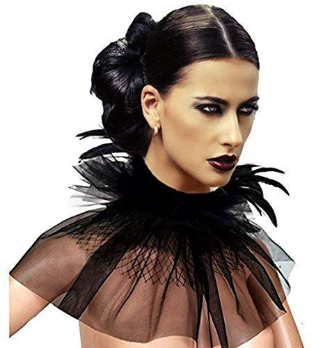 KELAND Women' Victorian Natural Feather Tulles Lace Choker Neck Wrap Collar Halloween (Black (feather & ()