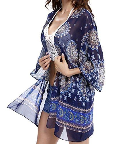 Estate Swim spiaggia coprire-Donne Boho chiffon Kimono Cardigan-Copertura per Bikini Costumi da bagno Beachwear spiaggia abito-donna-One Dimensioni Blue Large