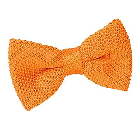 DQT Premium Knitted Polyester Plain Solid Tangerine Men's Pre-Tied Bow Tie