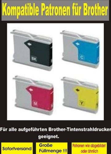 5 kompatible Patronen ( 2x bk, 1x cy,ma,ye ) für diese Brother-Drucker: MFC- 235C / 240C / 245C / 260C / 440CN / 465CN / 660CN / 665CW / 680CN / 3360C / 5460CN / 5860CN / 845CW - DCP-130C / 135C / 150C / 330C / 350C / 357C / 540CN / 560CN / 750CW / 770CW - FAX-2480C / 1360C / 1860C / 1960C