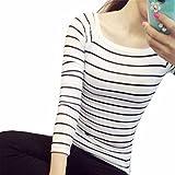 ESAILQ Damen Collection Damen Tagless T-Shirt Basic mit V-Ausschnitt(S,Weiß)