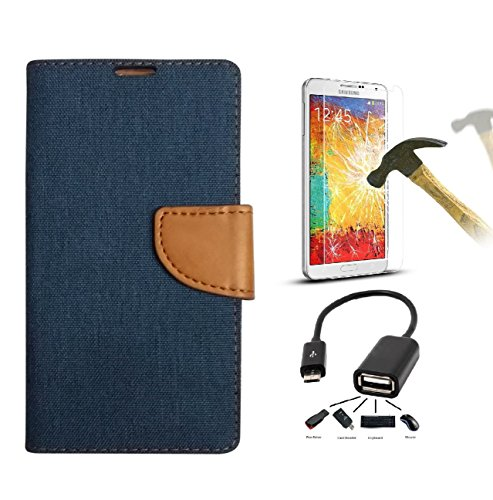 DENICELL Royal Dairy Style Flip Cover For MICROMAX YU YUREKA-A05510 (MATTE BLUE with TEMPERED GLASS,OTG)  available at amazon for Rs.319