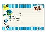 GRAZDesign 501932_50x30_GL_MT Glas-Magnettafel mit Blumen und Streifen in grün - blau - weiß | Schreibtafel - Glasbild | super für Küche - Wohnzimmer - Flur (50x30cm // Sicherheitsglas + 6 Magnete + 2 Stifte)