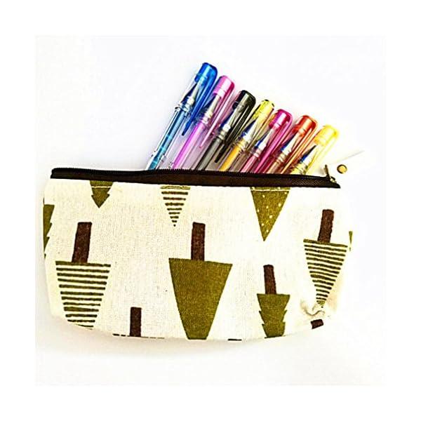 LnLyin – Estuche para lápices, diseño de Flores étnicas, diseño de Bosque y Animales, con Soporte para bolígrafos…