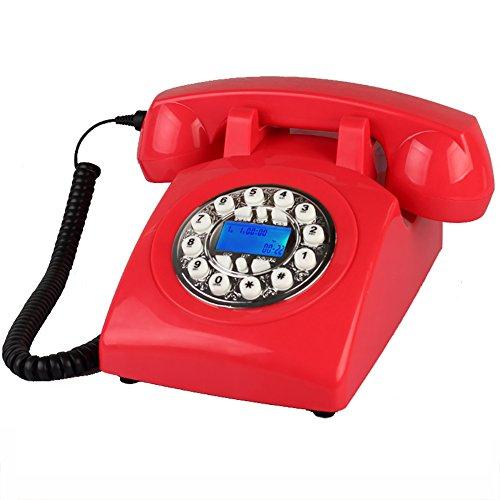 Designer retro phone/telefono a chiamata rotante/telefono stile retrò/telefono vintage/telefono da tavolo classico (colore : silver button)