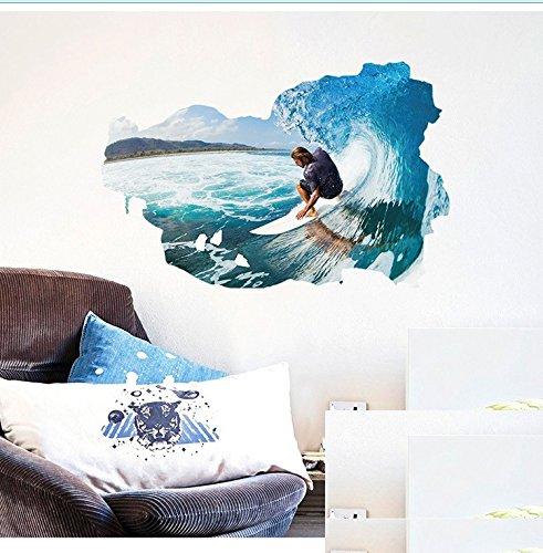 YUCH Surf 3D Mur Chambre Salon Décoration Chambre D'Enfant Peut Enlever Autocollants