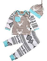 Los Ciervos de Largo Camisa de Manga+ Pantalones florales bebé +Sombreros niños ropa conjunto,AZX,Ropa para el Bebé Recién Nacido o Bebes infantiles