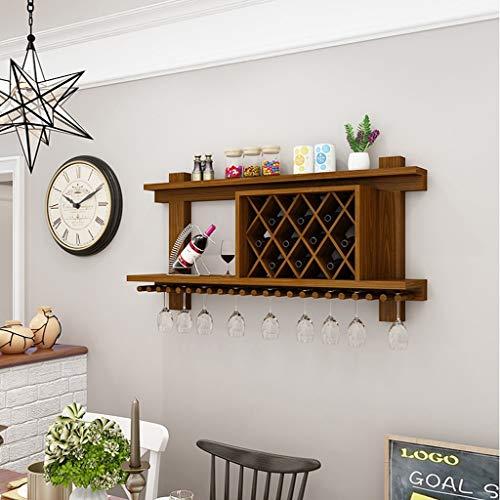 sivholz Weinregal Wandbehang Kreative Weinkühler Einfache Wohnzimmer Mit Esszimmer Hängende Weinregal Wein Wand Weinkeller (Farbe : Maroon, größe : 80cm) ()