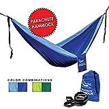 Single und Double Parachute Hängematte mit Trägern, Blue/Sky Blue