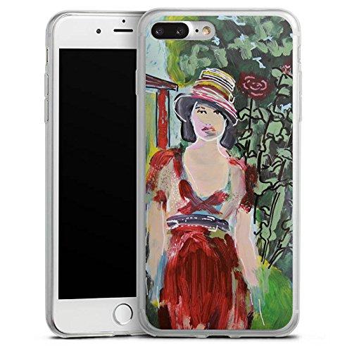 Apple iPhone X Slim Case Silikon Hülle Schutzhülle Frau Blumen Zeichnung Silikon Slim Case transparent