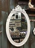 Charmanter Landhaus Holz Wandspiegel weiß Spiegel antik Garderobenspiegel Flurspiegel Barock