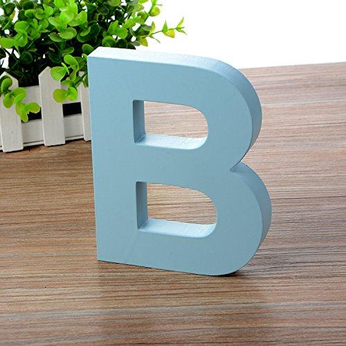 Doolland Wandbuchstaben aus Holz A-Z - Blau Deko Wandbuchstabe für Kinderzimmer Babyzimmer Baby Name Mädchen Schlafzimmer Dekor B