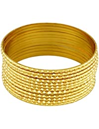 Pass Pass Fashionable , Ethnic Antique Look Gold Plated Bangles Set For Women And Girls Set Of 12