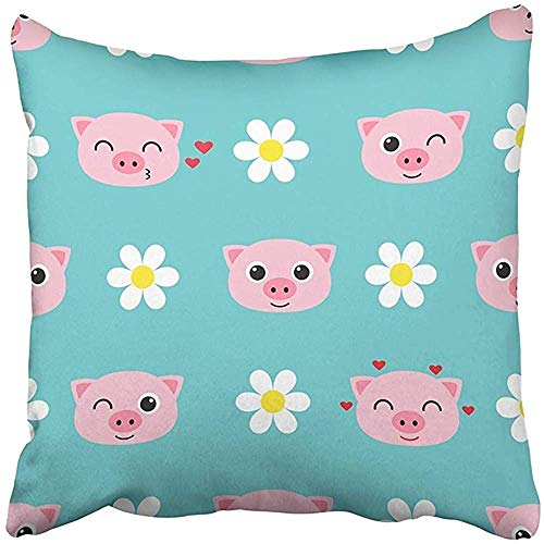 gthytjhv Wurfkissenbezugs Decorative Cases Blue Animal Cute Cartoon Piglets Pink Anime Baby Boy Character Childish 18x18 Inch Cover Cushion Pillowcase Square Case Print