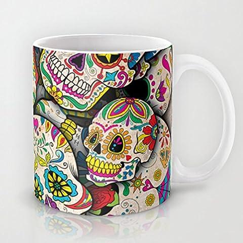 Sugar Skull Collage Hot Geramic Coffee or Tea Cup 11