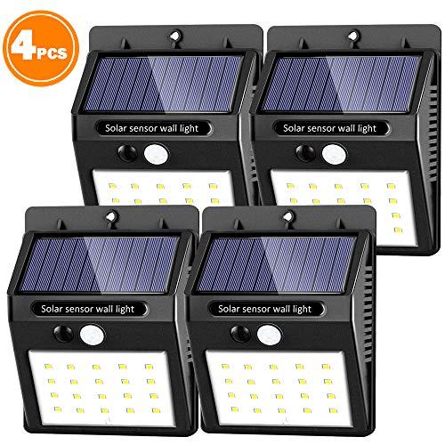 4pcs solaire mural lumière 30 LED solaire lumières étanche capteur de mouvement solaire monté au mur extérieur lumières de nuit lumière automatique on/off lampe de mur pour jardin extérieur