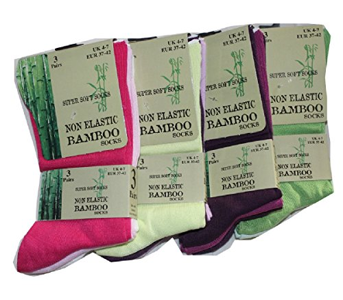 Diabetiker Socken (FF11), Damen 60% Bambus ohne Gummibund, 3Paar , schwarz