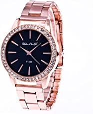 Souarts Damen Einfach Design Edelstahl Armbanduhr Quartzuhr Analog mit Batterie Rosegold Farbe