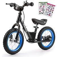 """ENKEEO 12"""" Draisienne Pas de Pédale de Contrôle Vélo de Marche de Formation de Transition avec Siège Réglable et Guidon Rembourré pour Les Enfants"""