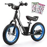 ENKEEO Premium Laufrad 12 Zoll & 14 Zoll Kinderlaufrad Lernlaufrad Balance Bike mit DIY-Aufkleber, Bremsen und Klingel ab 2 Jahren (12
