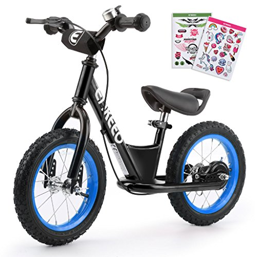 ENKEEO - 12'' Bicicleta sin Pedales, Bicicleta de Equilibrio, Entrenamiento Transicional en Bicicleta, Asiento Ajustable y Manillares Tapizados para Niños de Menos de 110 cm de Altura, Negro