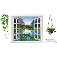 Adesivo da parete, rimovibile, motivo: finestra con vista su paesaggio boschivo, con fiori, alberi e sentiero, per soggiorno, camera da letto QT145