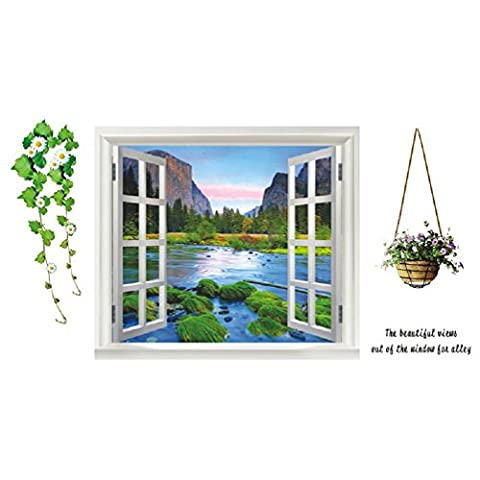 QT145 Removable Wall Sticker for Bedroom / Living Room - Window View of Path Surrounded by Trees, Flower Vines and Flower Basket by