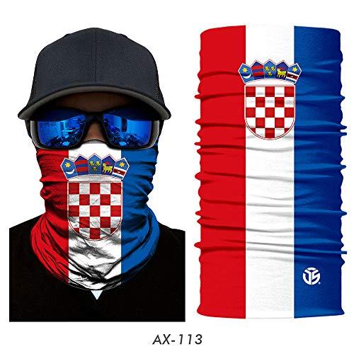 YOOMAT 3D Magie Schal Nationalflagge Spanien Russland Halsmanschette Sommer Schlauchring Halbe Gesichtsmaske Stirnbänder Bandanas Schals Männer Frauen, Kroatien, 48 CM X 24 CM
