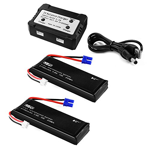 Preisvergleich Produktbild XCSOURCE® 2stk 7.4V 2700mAh 10C Lipo Batterie + 2 in 1 Batterie Balancen Ladegerät für Hubsan H501S Quadcopter BC658