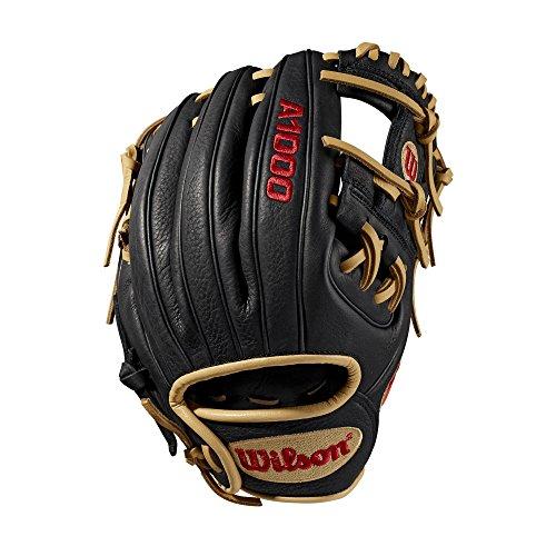 Wilson Sporting Goods 2019A1000PF88Baseball Handschuh-Rechte Hand Überwurf schwarz/blond, 28,6cm