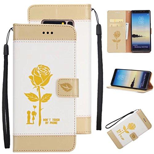 EKINHUI Case Cover Geprägtes Blumen-Liebhaber-Muster Horzontal-Schlag-Standplatz PU-lederner Mappen-Kasten mit Lanyard-Karten-Klumpen für für Samsung-Galaxie-Anmerkung 8 ( Color : Brown ) White