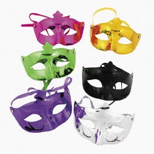 Set von 6Mardi Gras Metallic Kunststoff Masken sortiert Farben Express Maske