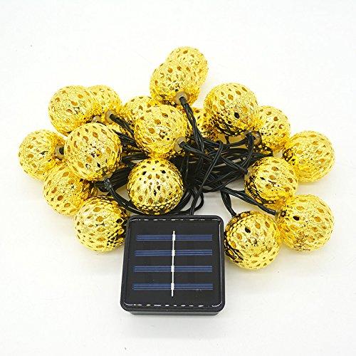 HAIYUANNAN Ball 20LED Solar-Lichterkette Weihnachtsbeleuchtung Schnur Metallkugeln 5 m, golden Light - Schnur-dimmer Durch