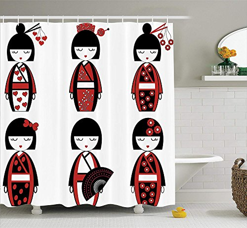 GONIESA Girly Decor Shower Curtain Set, Unique Asian Geisha Dolls in Folkloric Costumes Outfits and Hair Sticks Kimono Art Image, Bathroom Accessories, 60W X 72L Inches Long, Black Red