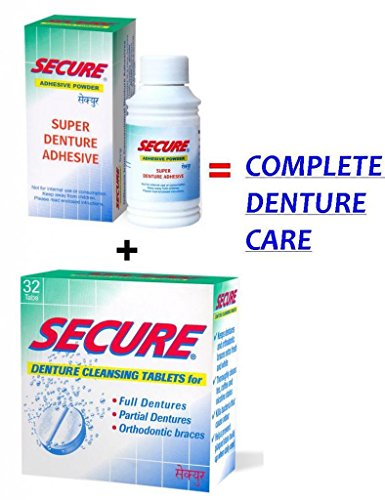 SECURE Denture Adhesive Powder 20 gms & SECURE Denture Cleansing 32 Tablets