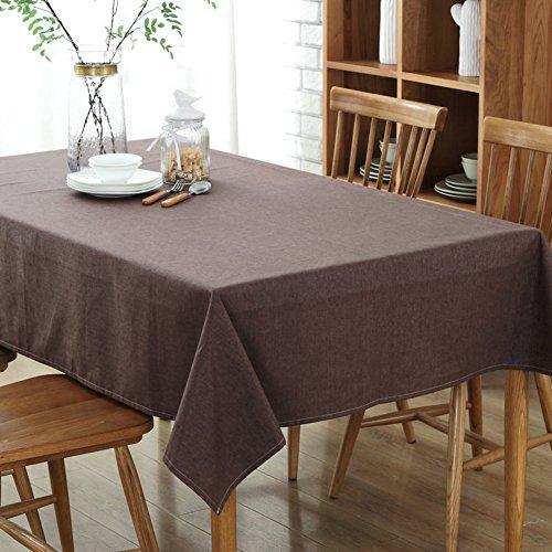 Yq whjb impermeabile tinta unita tovaglie,hotel rettangolo tovaglia da tavola,lino di cotone prova della polvere cucina dinning da tavolo protector-marrone scuro 130x200cm(51x79inch)
