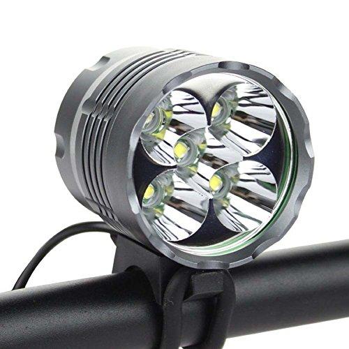 5*CREE XM-L T6 6000 Lumen LED aufladbare Fahrradlicht mit 6400mAh Batterie Frontlichter Kopfleuchte Doppelzweck Kopflichter Fahrradlampe vorne wasserdicht Kopflampe