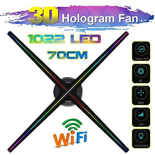 ZYLFN Hologram Fan WiFi Steuerung Hologram führte Fans Holographic 3D-Werbung Display-Projektor mit 1022pcs LED-Leuchten, 70cm