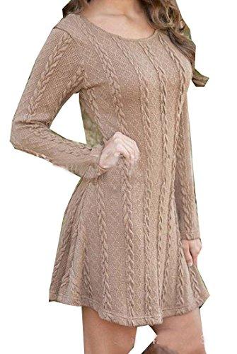 3/4 Sleeve Wool Pullover (EKU FASHION Damen Sweatshirt Gr. S, Hellbraun)