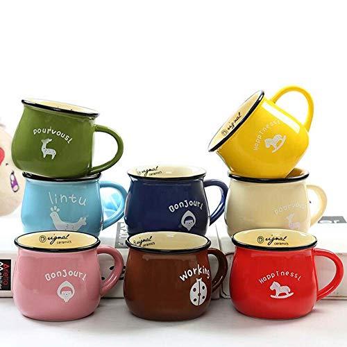 Tier gemusterte heiße Schokolade Kaffee Tee Tassen Hotelware Tassen Porzellan weißer Kaffee Tee Tasse spülmaschinenfest (Farbe zufällig),L ()