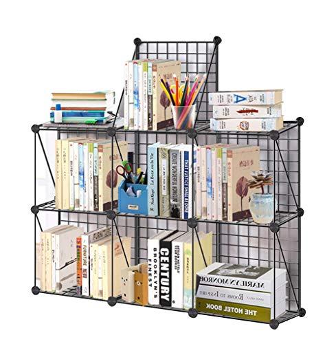 QIANGDA Bücherregal Bücherschrank DIY Eisendraht Speicher Anzeigen Stufengestell Regale Veranstalter Kabinett, Schwarz, 5 Größen (größe : 7-Cube) (Bücherregal Cube Speicher)