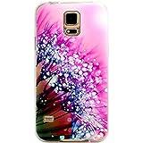 JIAXIUFEN Neue Modelle TPU Silikon Schutz Handy Hülle Case Tasche Etui Bumper für Samsung Galaxy S5 -Pink Flower with Clear Water Drop Style