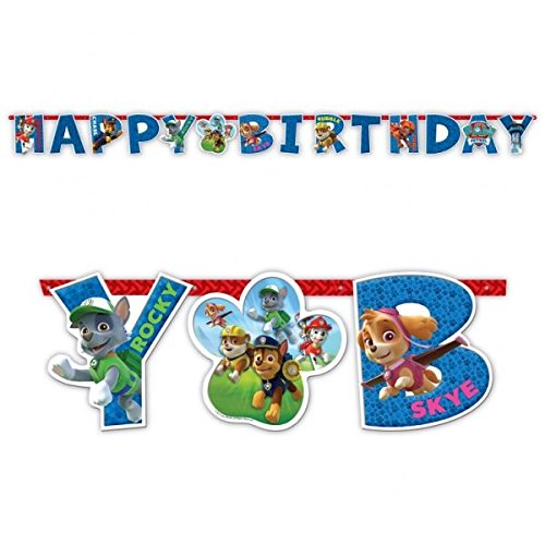 Amscan 999139 Paw Patrol Happy Birthday-Banner, 1 m x 11 cm (Party Banner Name Geburtstag Für)